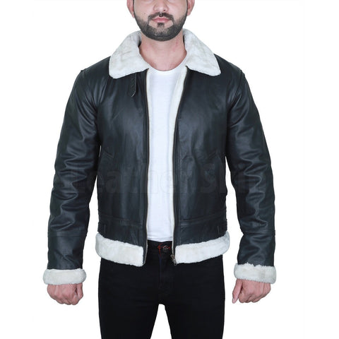 Black Fur Leather Jacket For Men