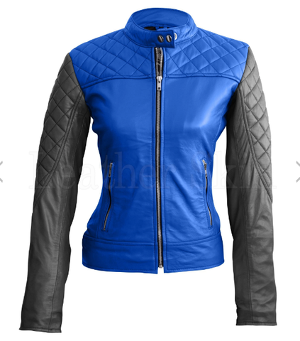 Blue Leather Jacket With Black Sleeves