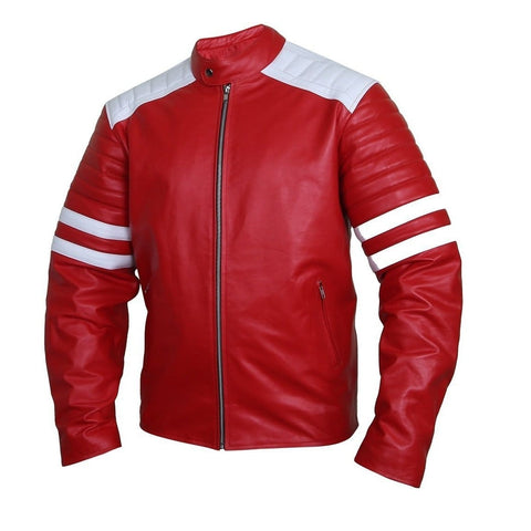 Edgy Crimson Leather Racer Jacket