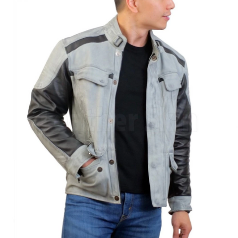 Gary Combo Biker Leather Jacket