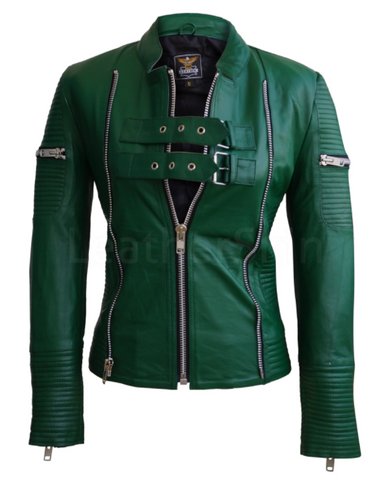 Green Quilted Leather Jacket