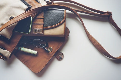 Leather Bag with Marker Glasses and Iphone