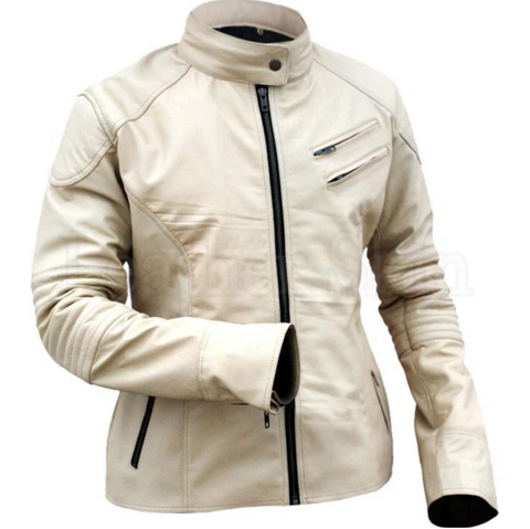 Leather-Skin-Cream-White-Men-Women-Fashion-Stylish-Sexy-Premium-Genuine-Leather-Jacket