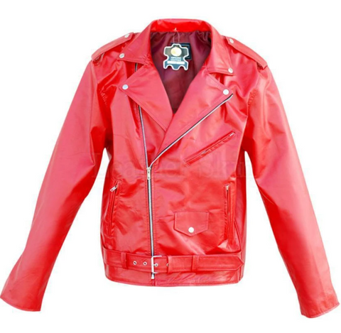 Leather-Skin-Unisex-Punk-Red-Brando -Genuine-Leather-Jacket-With-Front-Pocket