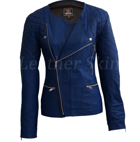 Leather-Skin-Women-Blue-Shoulder-Quilted-Collarless-Genuine-Leather-Jacket
