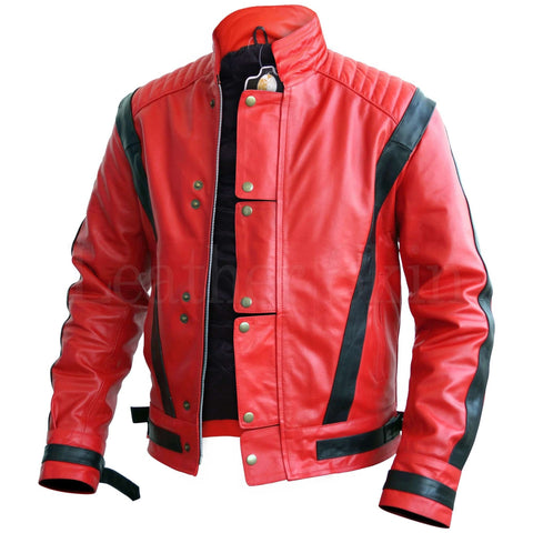 Leather Skin Men Red Thriller Premium Genuine Leather Jacket With Black Stripes