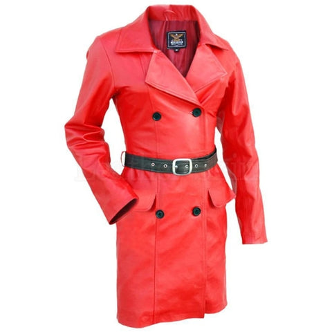 Leather Skin Women Red Fashion Premium Genuine Long Leather Coat