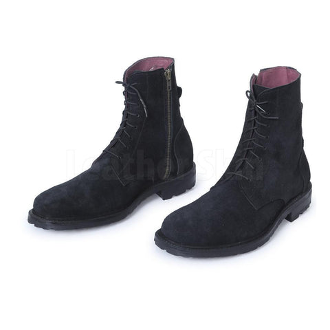Men-Black-Suede-Lace-Up-Ankle-Military-Leather-Boots
