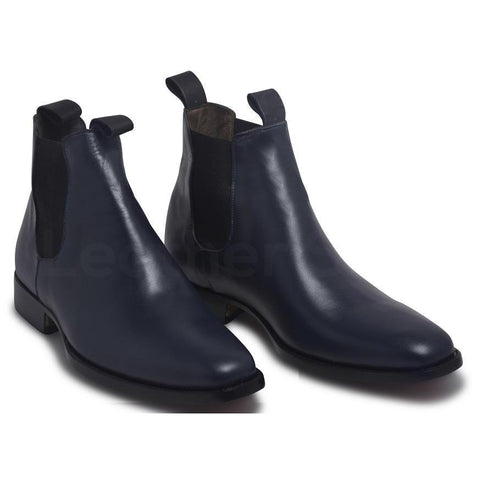 Men-Blue-Chelsea-Pull-On-Genuine-Leather-Boots