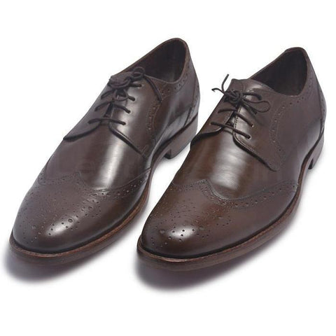 Men Brown Derby Brogue Wingtip Laces Genuine Leather Shoes