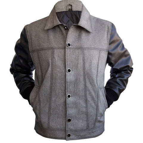 Men-Gray-Grey-Denim-Jacket-with-Black-Leather-Sleeves