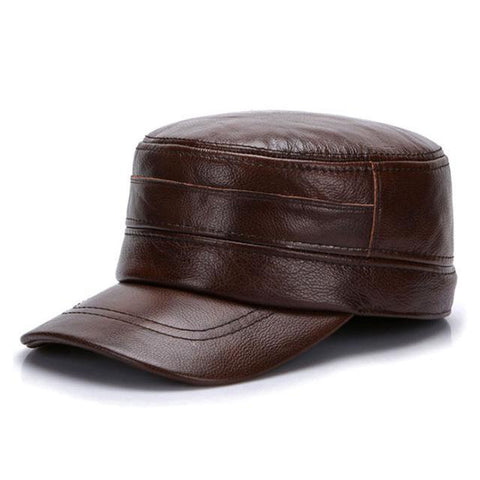 Men-Military-Leather-Cap-With-Impeccable-Quality