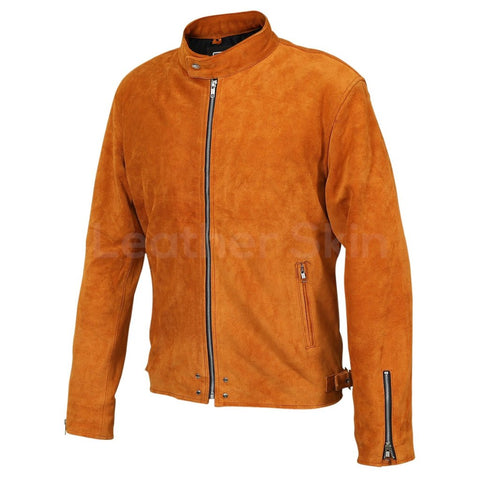 Men Tan Suede Leather Jacket With Silver Zippers