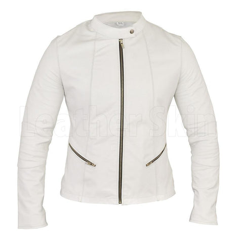 Straight cut white leather jacket