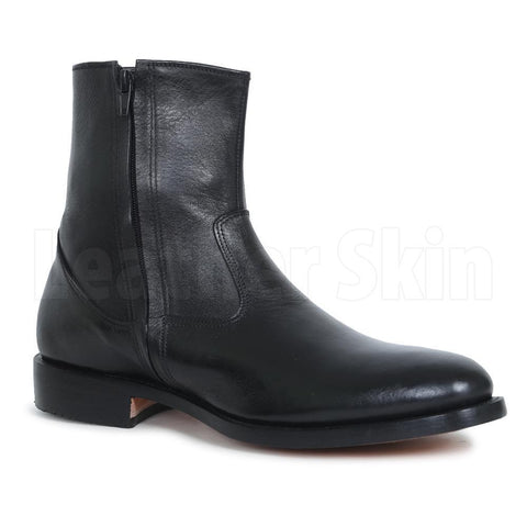 Men Black Zipper Ankle Genuine Leather Boots
