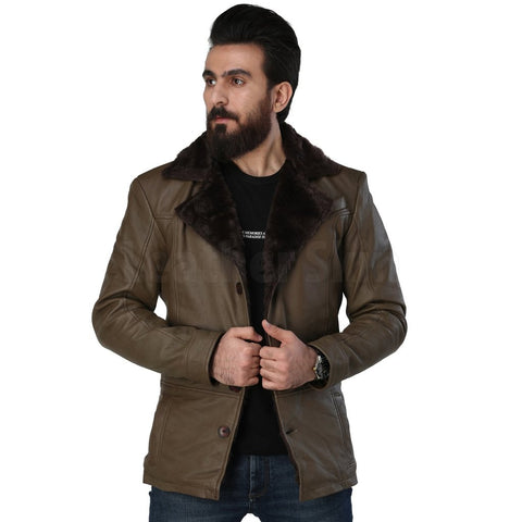Men's Army Green Leather Coat