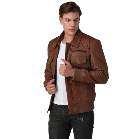 Mens-Brown-Bomber-Leather-Jacket