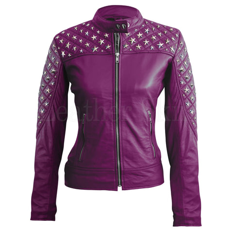 Women Purple Star Silver Studded Quilted Leather Jacket