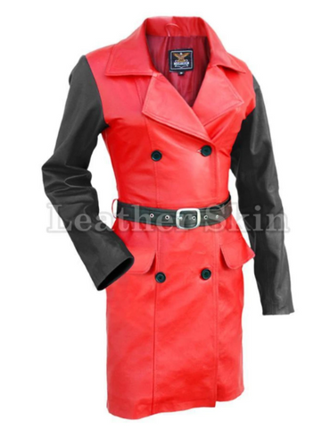 Red With Black Sleeves Long Coat