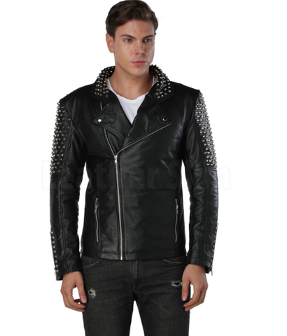 Men's Spiked Leather Jacket