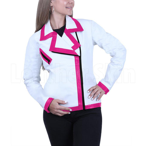 White leather Jacket with pink strips