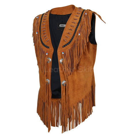 Women Brown Fringes Decorative Beads Suede Leather Jacket