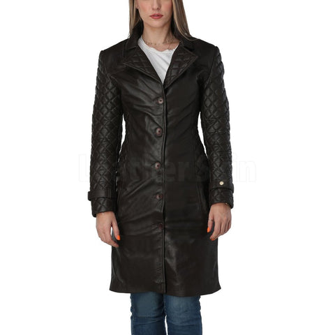 Women Dark Brown Quilted Leather Coat