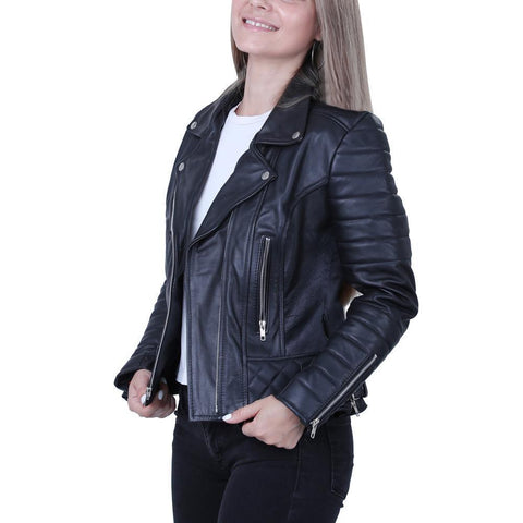 Women Ebony Quilted Black Biker Leather Jacket