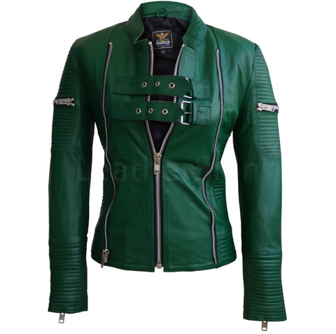 Women-Green-Sheep-Skin-Rib-Quilted-Genuine-Leather-Jacket