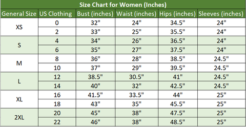 Women Size Chart for Leather Jackets