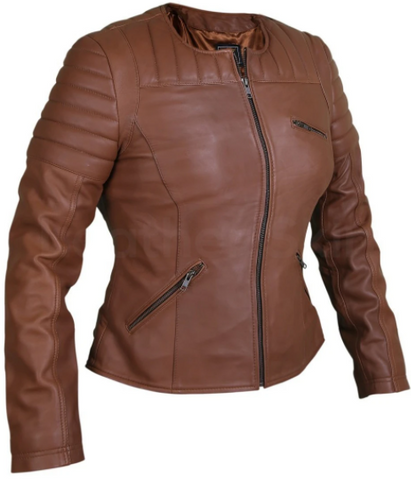 Women's Brown Collarless Leather Jacket