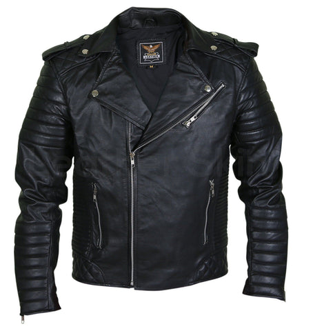 Men Black Brando Motorcycle Leather Jacket