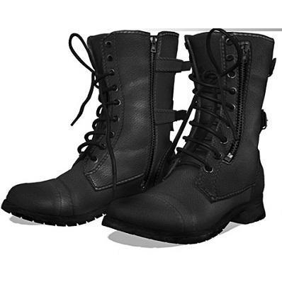 Men Black Military Genuine Leather Boot