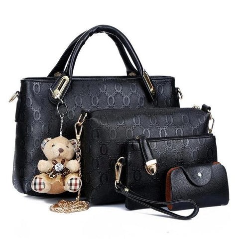 Women Set Of Four Faux-Leather Handbags Tote Messenger Wallet Wristlet Sling Bag