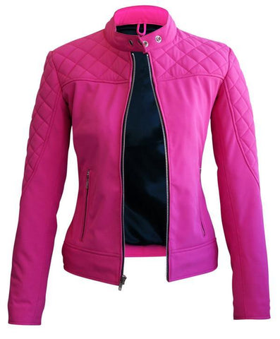 Women Pink Softshell Quilted Jacket With Black Lining