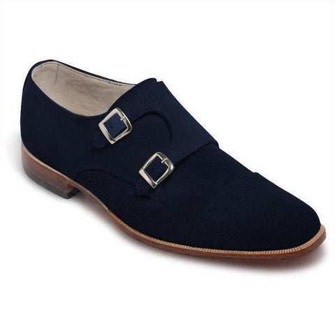 Men Navy Blue Double Monk Suede Leather Shoes