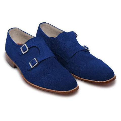 Men Blue Double Monk Suede Leather Shoes