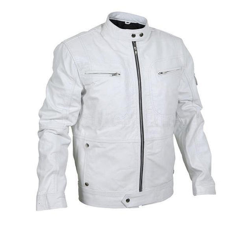 Flawless White Bomber Leather Racer Jacket