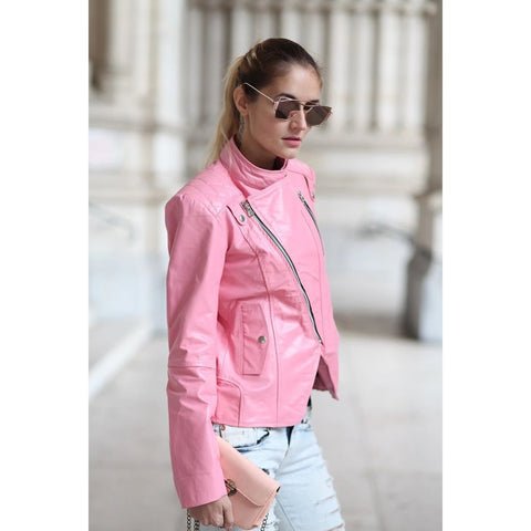 Pink Brando Genuine Leather Jacket