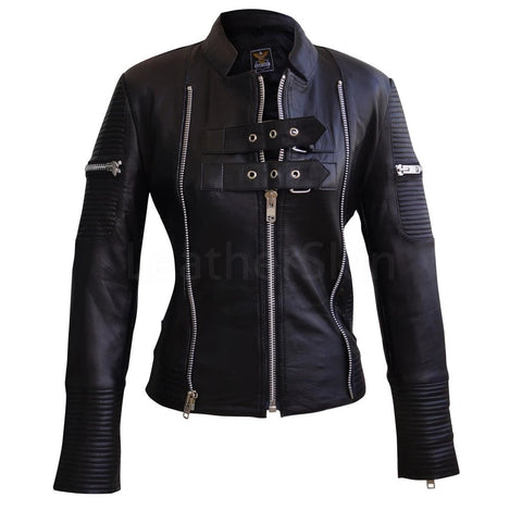 Black Brando Quilted Genuine Sheep Skin Leather Jacket