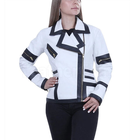 White Combo Leather Jacket For Women