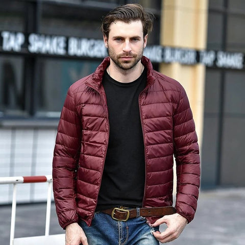 Red Maroon Rib Quilted Down Jacket