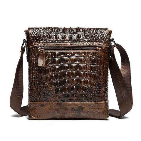 Men Alligator Crocodile Genuine Leather Flap Closure Messenger Crossbody Bag