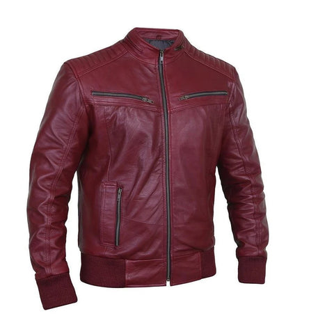 Flashy Sangria Leather Bomber Jacket