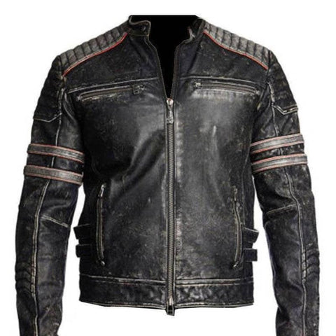 Mens Biker Vintage Distressed Black Retro Biker Motorcycle Real Leather Jacket