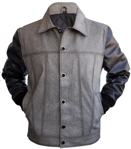 Men Denim Gray Grey Jacket With Black Leather Sleeves