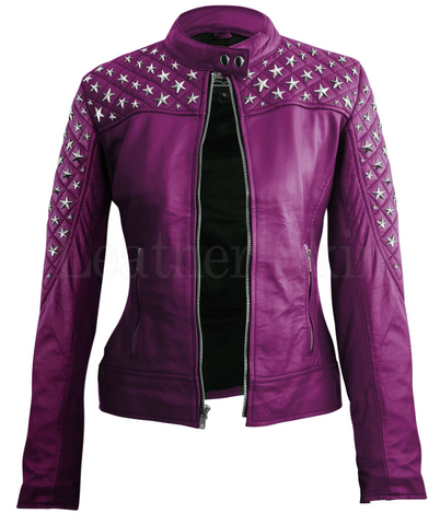 Purple Star Silver Studs Quilted Genuine Leather Jacket