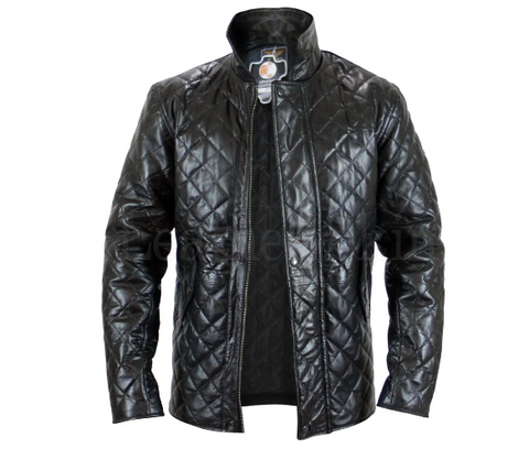 Leather Skin Men Black Quilted Genuine Leather Jacket