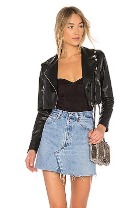 Sloane Faux Leather Cropped Moto