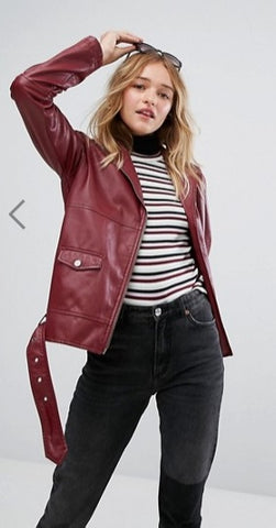 Monki Faux Leather Biker Jacket: